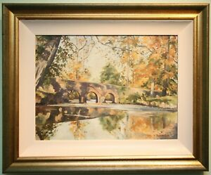 Original Irish Art Oil Painting MINNOWBURN BRIDGE, Nr RIVER LAGAN, BELFAST