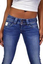 geniale PEPE Knack-Po Jeans VENUS D24 Mittelblau Low Waist Straight Leg