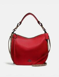 Coach Sutton Hobo With Signature Canvas Blocking - Pewter/Tan Red Apple