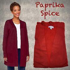 Susan Graver Rayon/Nylon Long Sleeve Open Cardigan NEW 3X Paprika Spice A236016
