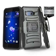 BLACK REFINED ARMOR COVER PHONE CASE & SWIVEL BELT CLIP HOLSTER FOR [HTC U11]