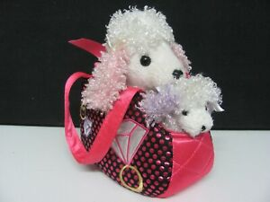 Aurora Fancy Pals Plush Poodle in Pink Carrier Bag with Bonus Puppy