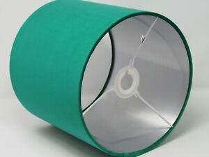 Lampshade Emerald Green Velvet Brushed Silver Drum Light Shade