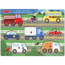 Melissa & Doug Wooden Peg Puzzle - Vehicles - 8 Pieces - For Kids Ages 2 Years