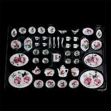 Dollhouse Porcelain Miniature Dining Room Set Rose Pattern Tableware Golden Edge