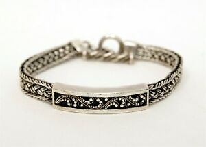LOIS HILL Signed Woven Mesh .925 Sterling Silver Granulated ID Toggle Bracelet