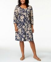 Karen Scott Women's Plus Blue Floral Printed 3/4-Sleeve Dress SIZES 1X 2X 3X