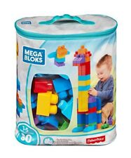 Mega Bloks Blue Big Bag Of Building Blocks By Fisher Price 80pcs Ages 1-5