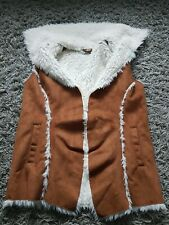 M&s Kids Fauux Suede And Fur Gilet Bittonless Brown Faux Fur Lined Big Collar...