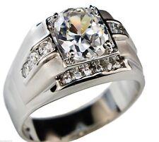 Mustang Style 8.4 carat CZ Men's Ring 18k White Gold Overlay Size 9