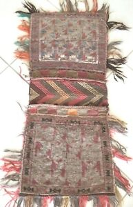 Nomaden Belutsch Unikat Doppel Tasche Teppich Sammler Baluch Sattel bag Grau Ros