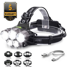 90000LM 5X XML T6 LED Headlamp USB Rechargeable Head Light Flashlight Torch Lamp