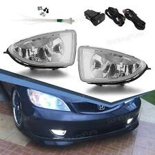 For 2004 2005 Honda Civic 2Dr/4Dr Coupe Sedan Clear Fog Lights w/ Switch+Harness