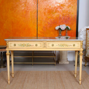 Antique Italian Marble Hand Painted Sideboard Maple & Co Console Table Drawers