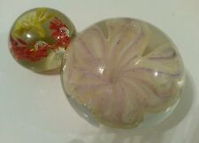 VINTAGE GLASS ART PAPERWEIGHT - FLOWERS set of 2