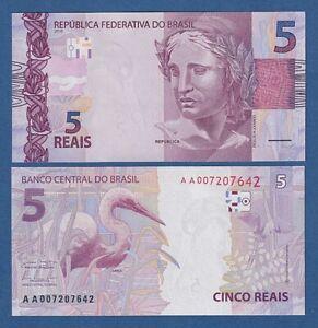 BRASIL // BRAZIL -- 5 REAIS ( 2010 ) -- UNC -- AA -- PICK 253a .
