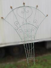 Huge Salvaged Green Wrought Iron Fanned Finial and Heart Trellis