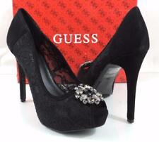 GUESS Hotspot Women US 10 Black PEEP Toe Platform Heel Pre Owned 1285