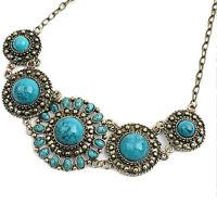 EG _ Damen Ethno Boho blau türkis eingelegt Anhänger Halskette Schmuck Mode