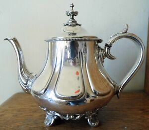 SUPERB ANTIQUE 1851-79 James Dixon SHEFFIELD SILVER PLATED TEA POT 4 Rococo Feet
