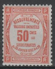 "FRANCE STAMP TIMBRE TAXE 47 "" 50c ROUGE "" NEUF xx TTB , VALEUR: 1000€   N688"