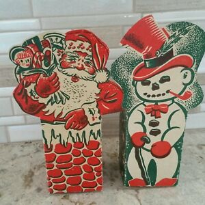 Vintage Christmas Folding Gift Box Santa Snowman Very Old Antique Rare Folded
