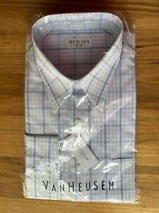 Van Heusen long sleeve full cut business shirt - white striped - size 42 - BNWT