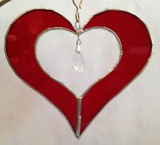 """5"""" Stained Glass Heart with Crystal Suncatcher - Made in the USA in NH- CCI"""