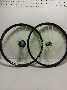Bicycle Rim 16in Black With neon Spokes