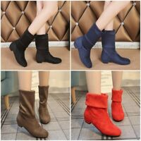 Winter Boots Women Round Toe Mid-calf Boots Princess Flat Flock Shoes Snow Boots