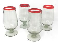 Orion Mexican Glassware Red Rim Footed Water Goblet 20 oz. - Set of 4