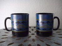 Vintage Set of 2 French Milk Glass Coffee Mug Tea Cup Southwest Geometrical