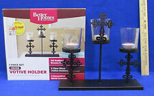 Cross Votive Holder Table Centerpiece Metal Cross Candle Stand 4 PC Set