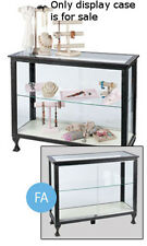Glass Display Case in Charcoal Black 38 H x 18 D x 48 L with Glass Shelf