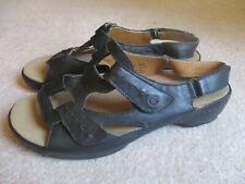 Spring Step PAT Black Leather Casual Cutout Sandal  Low Wedge 10/42