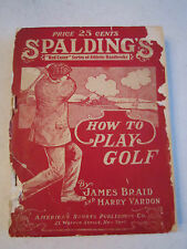 1914 SPALDING HOW TO PLAY GOLF MANUAL - SPALDING'S ATHLETIC LIBRARY - TUB G
