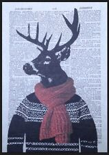 Rentier Rudolph vintage Wörterbuch Seite Wandkunst Bild Aufdruck Weihnachten