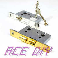 "Mortice Bathroom Door or 3 Lever Sash Lock & Keys   2.5"" or 3"" Brass or Chrome"