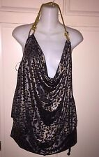 NWT Z. CAVARICCI , SEXY  SHIRT TOP, SIZE 1, LEOPARD PRINT  GOLD CHAIN DETAIL