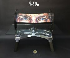 Original PAUL OZ painting. F1 drivers eyes on a rear wing with unique JIG TABLE