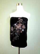 Weather Vane para Mujer de Moda Negro Terciopelo Floral Sin breteles Top O Falda talla L T78