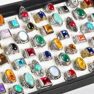 20pcs Wholesale Jewelry Lot Mix Natural Turquoise women Silver gold Vintage Ring