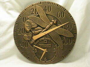 Springfield temperature clock wall decor cast aluminum dragonfly detail