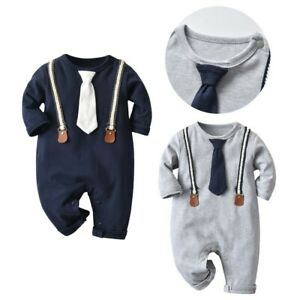 Newborn Baby Boys Romper Clothes Long Sleeve Jumpsuit Playsuit Toddler Outfits