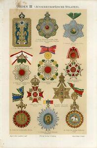 1895 OLD AWARDS CHINA JAPAN SIAM HAWAII PERSIA ABYSSINIA Chromolithograph Print