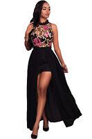Woman's New Sheer Mesh Embroidery Chiffon Romper Maxi Dress/ Pink/ White/ Black