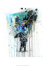 ROMANTIC ART PRINT - Love Shock - Lora Zombie Romance Skeleton Kiss Poster 14x20