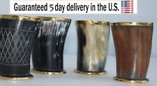 """Set of Assorted 4"""" Viking Drinking Horn Mug Cups Brass Dressed for Ale Beer Wine"""