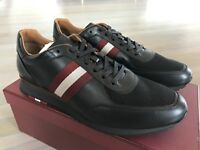 700$ Bally Aston Black Leather Sneakers size US 10.5 Made Switzerland