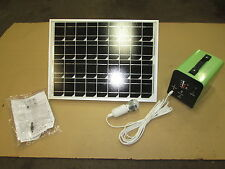 12 VOLT SOLAR SYSTEM GREAT FOR CABINS HUNTING CAMPING PORTABLE 20W PANEL/LIGHTS